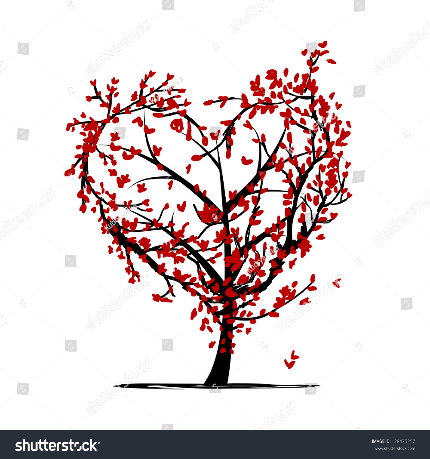 Love Tree Your Design Stock Vector 128475257