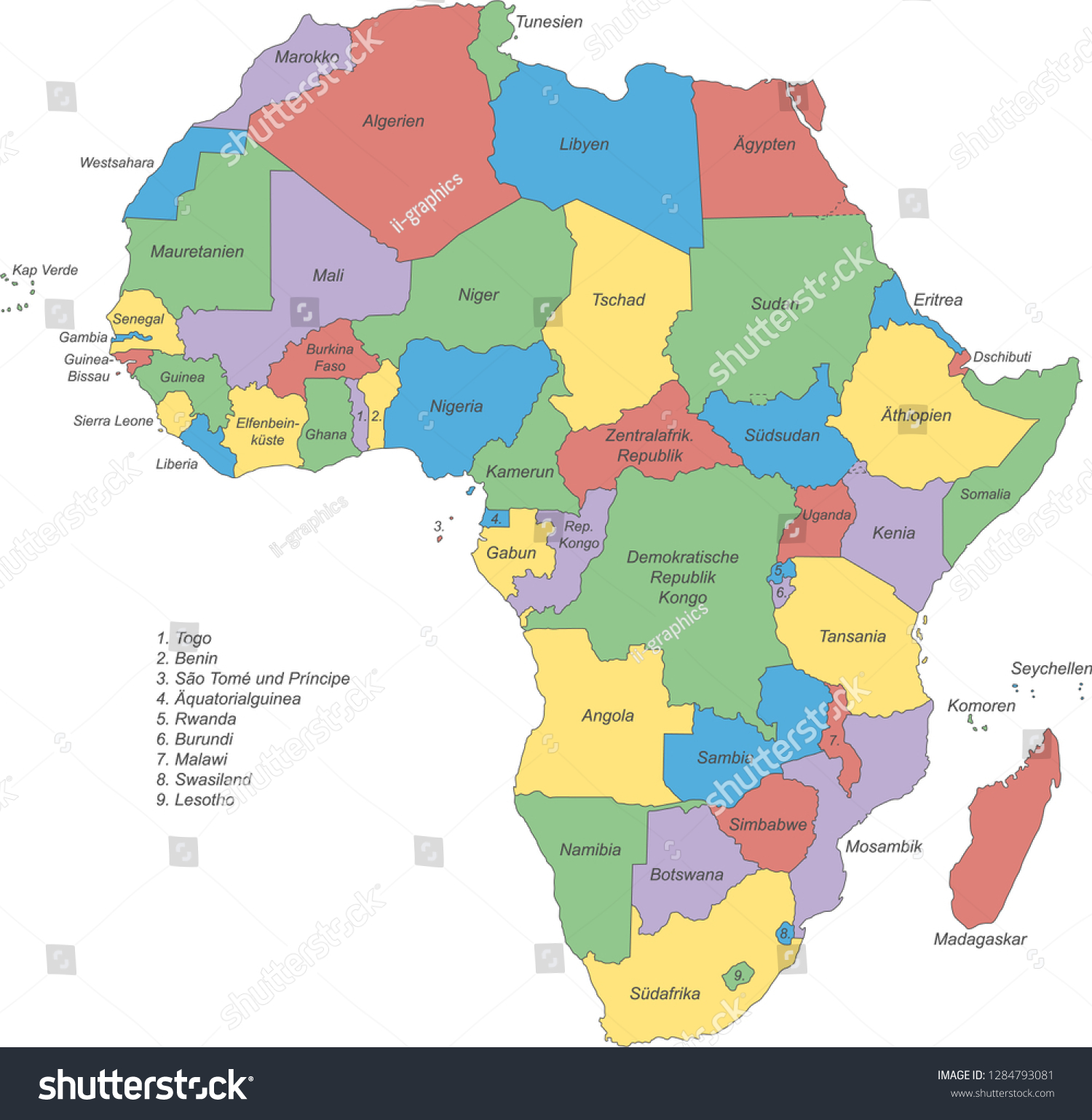 poltical map of africa Africa Political Map Africa Stock Vector Royalty Free 1284793081 poltical map of africa