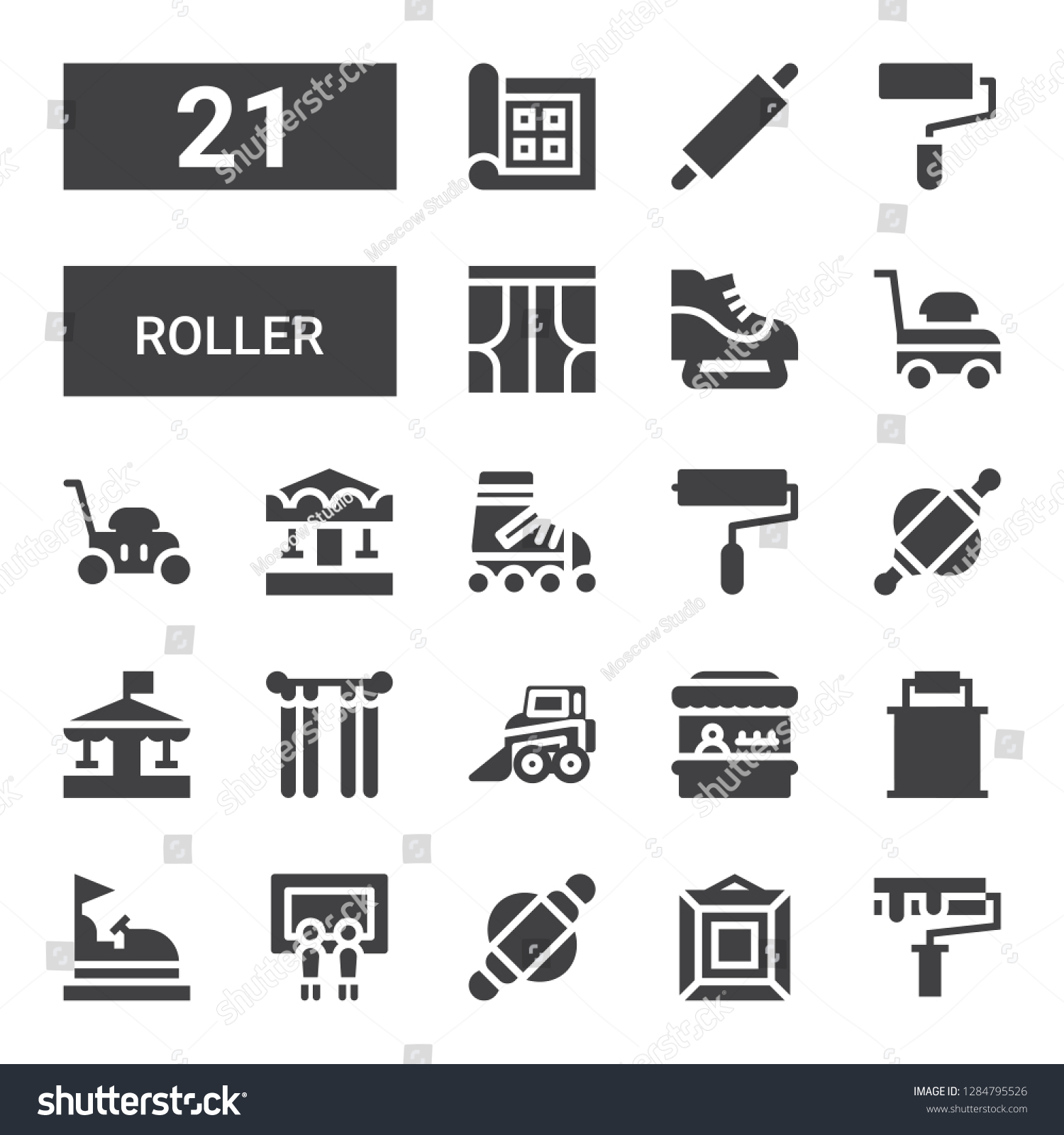 Roller Icon Set Collection 21 Filled Stock Vector Royalty Free 1284795526
