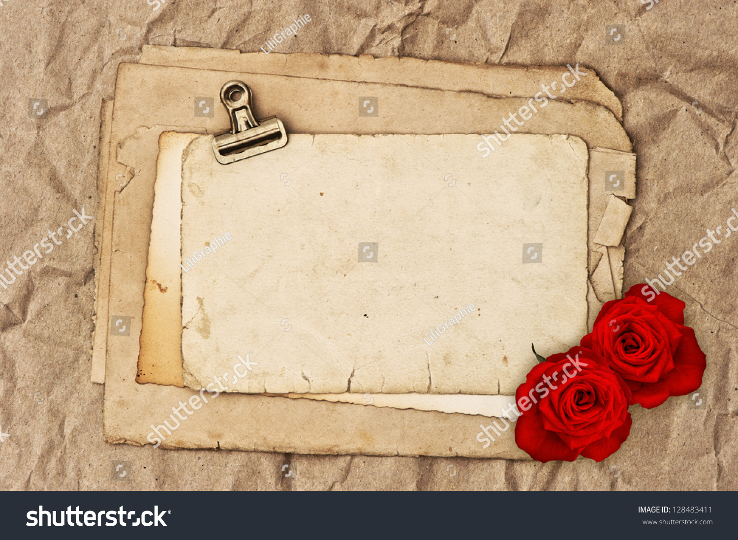 Old Blank Paper Two Rose Flowers Photo 128483411 Shutterstock – Blank Paper Background