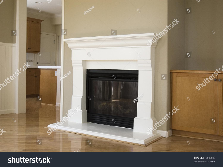 New Construction Livingroom Hardwood Floors Fireplace Stock Photo ...