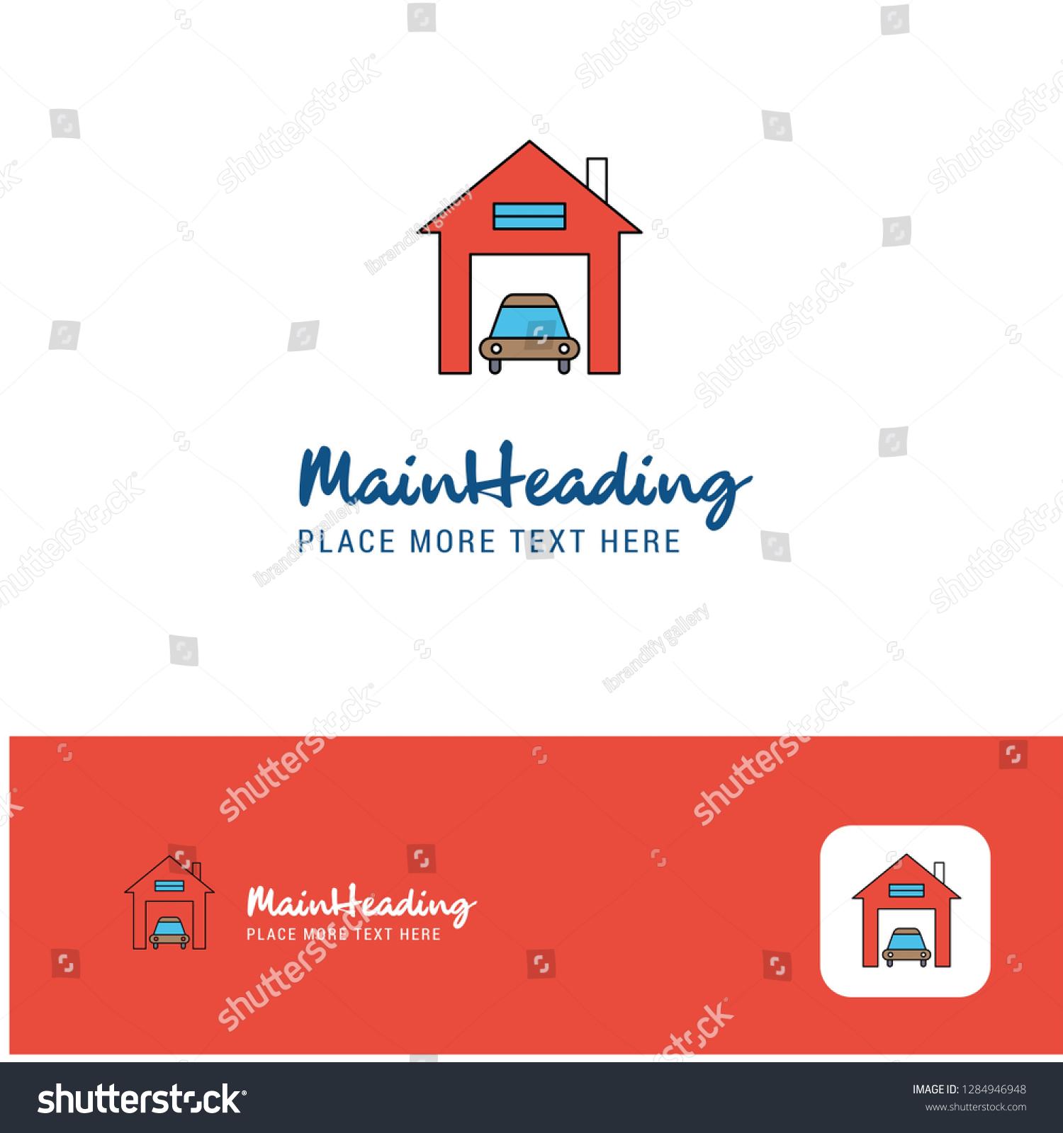 Creative House Garage Logo Design Flat Stock Vector Royalty Free 1284946948
