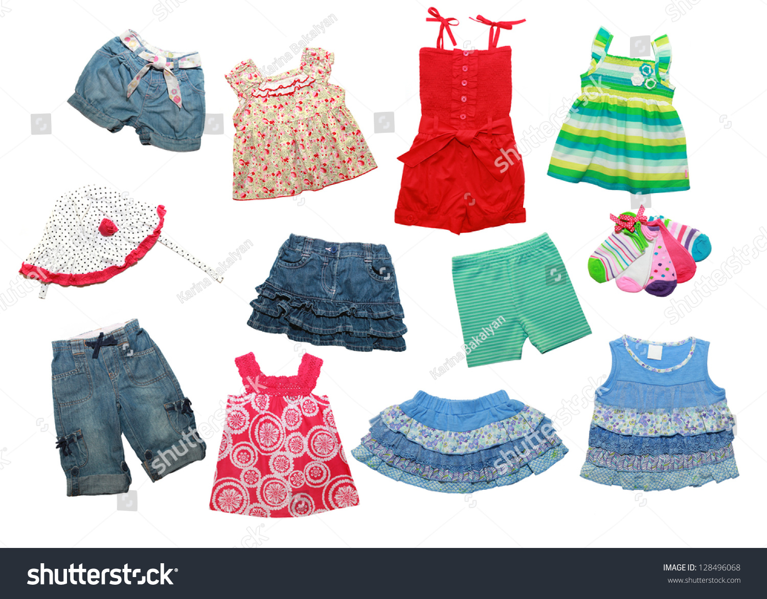 Summer Clothes Little Girl Isolated On Stock Photo 128496068 ...