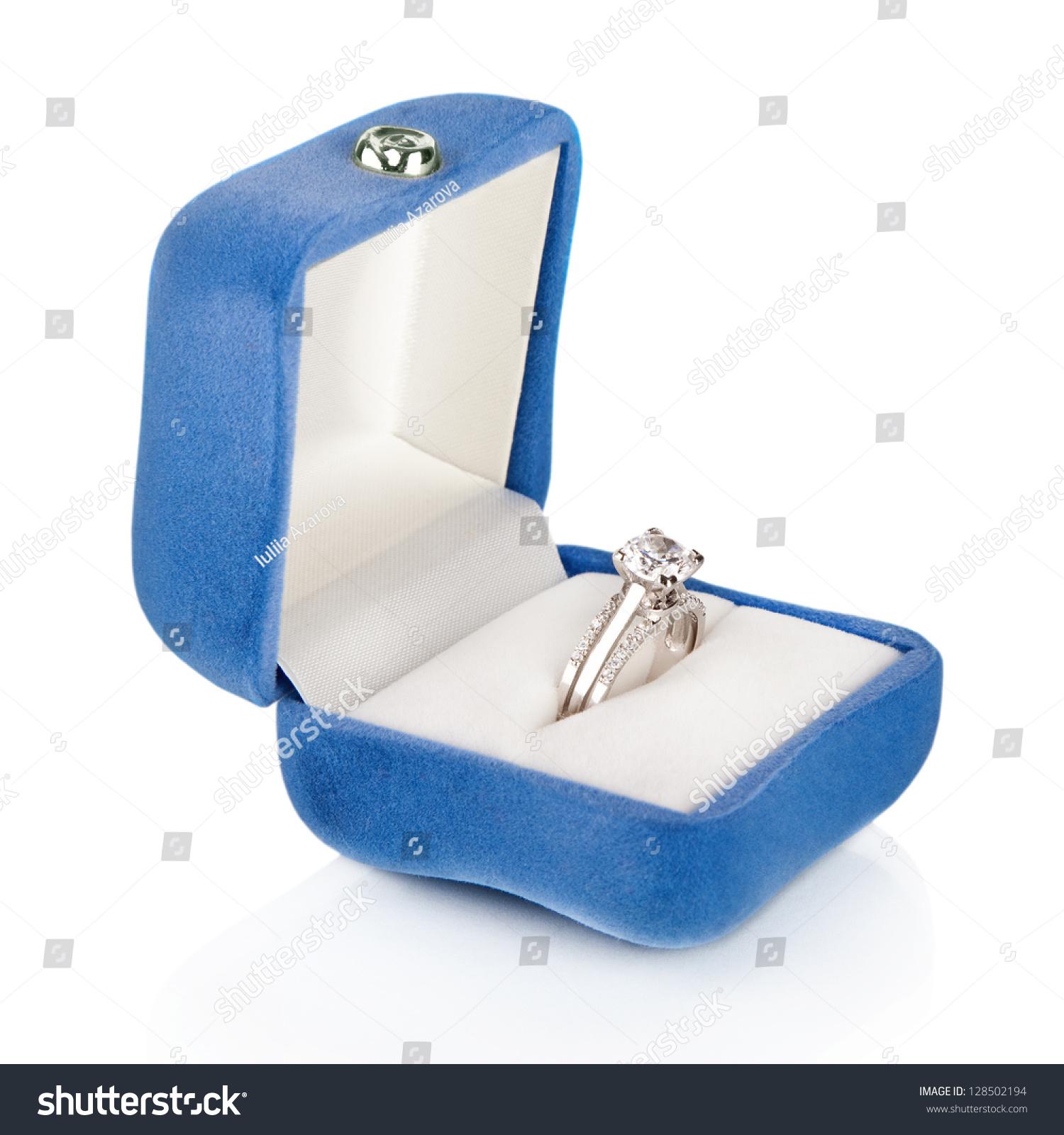 Luxury Diamond Wedding Ring Blue Velvet Stock