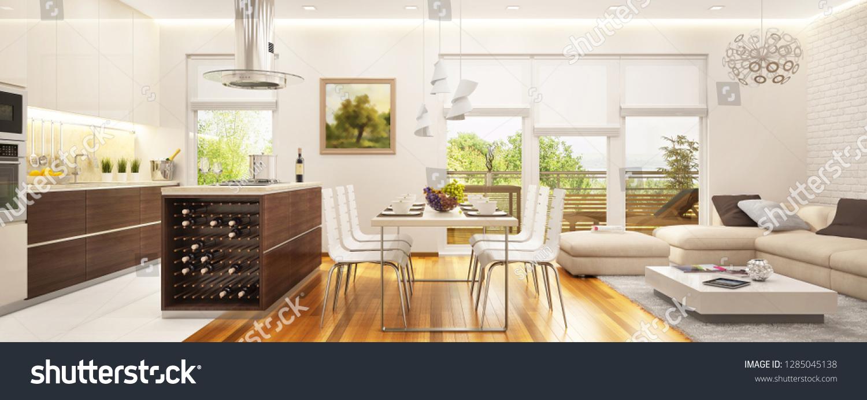 Large Modern Kitchen Combined Living Room Stock Illustration