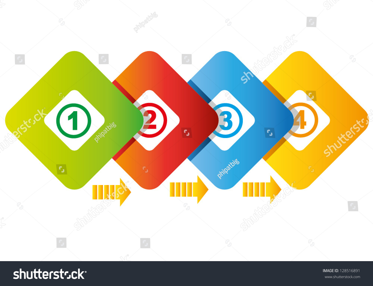 4 Square Process Diagram Business Flow Stock Vector Royalty Free Presentation
