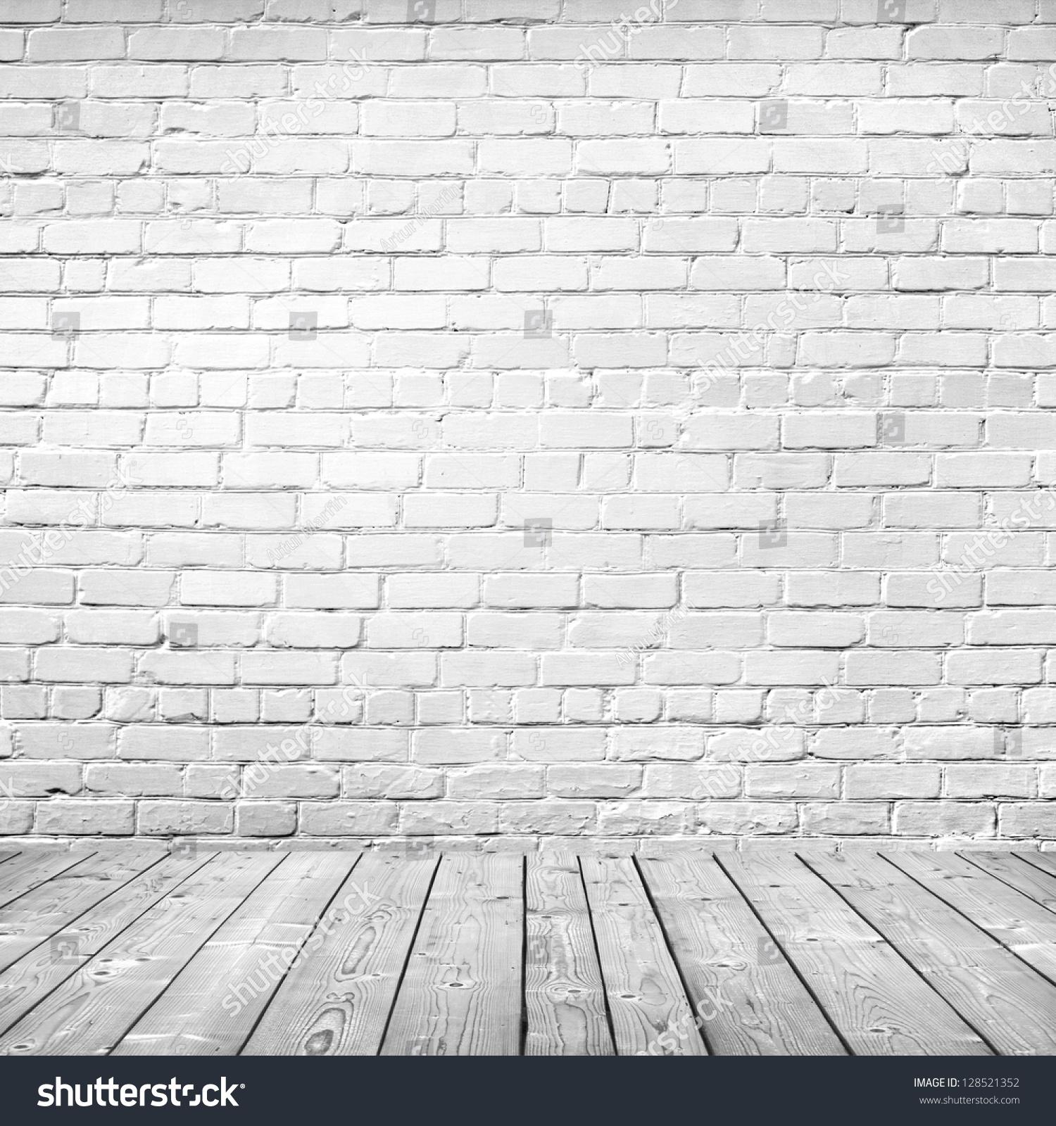 Room Interior Vintage White Brick Wall Stock Photo ...