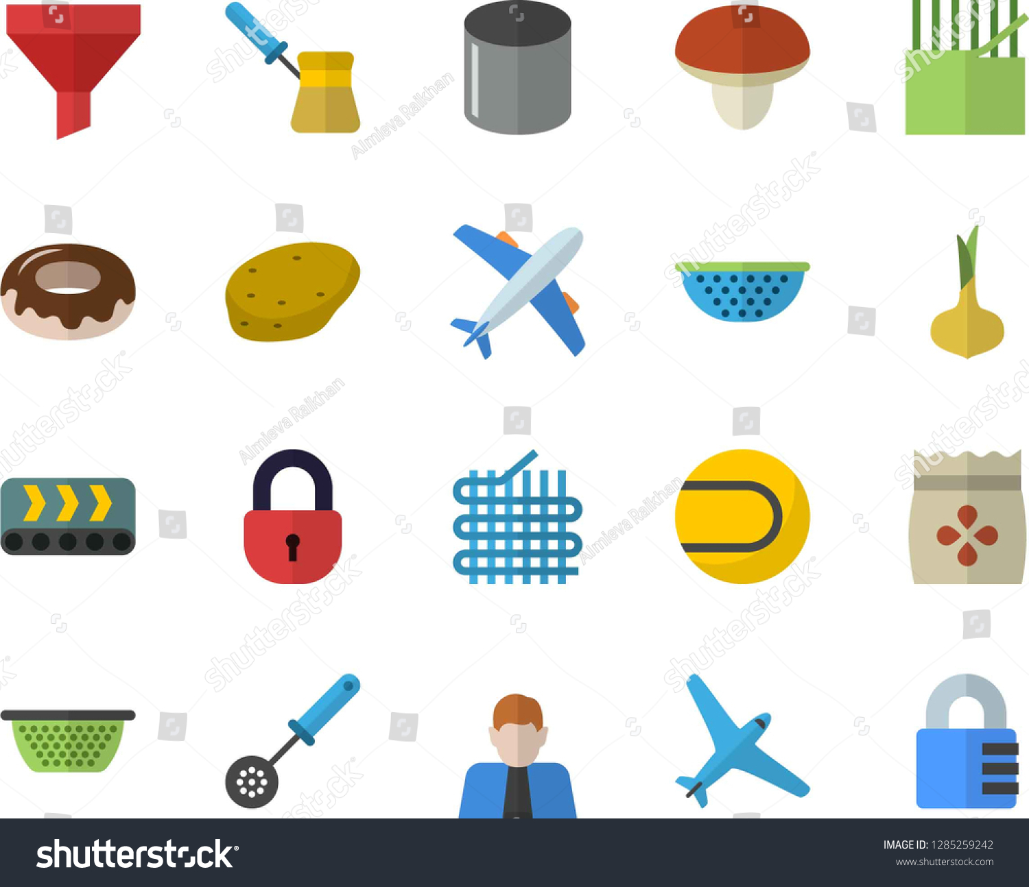Color Flat Icon Set Colander Flat Stock Vector (Royalty Free