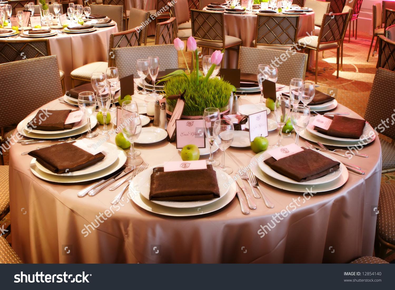 Table Setting Luxury Wedding Reception Stock Photo Royalty Free