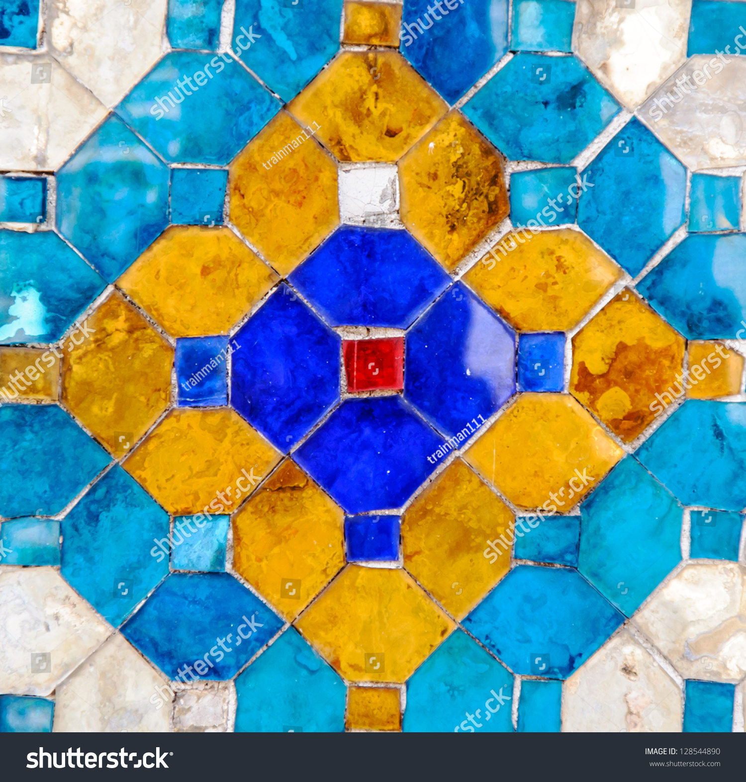 Traditional Thai Mosaic Art On Wall Stock Photo (Royalty Free ...