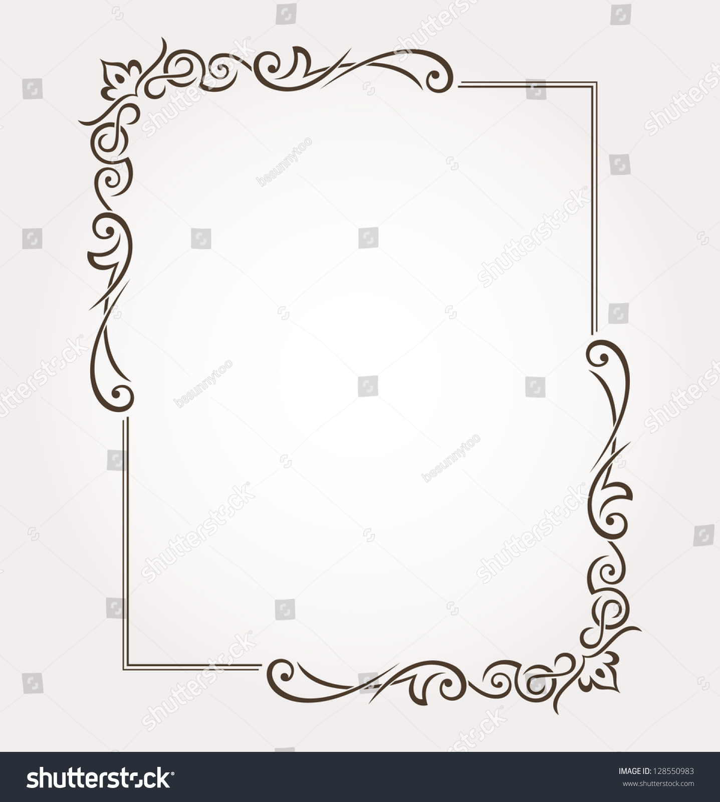 Calligraphic frame and page decoration vector for Decoration word