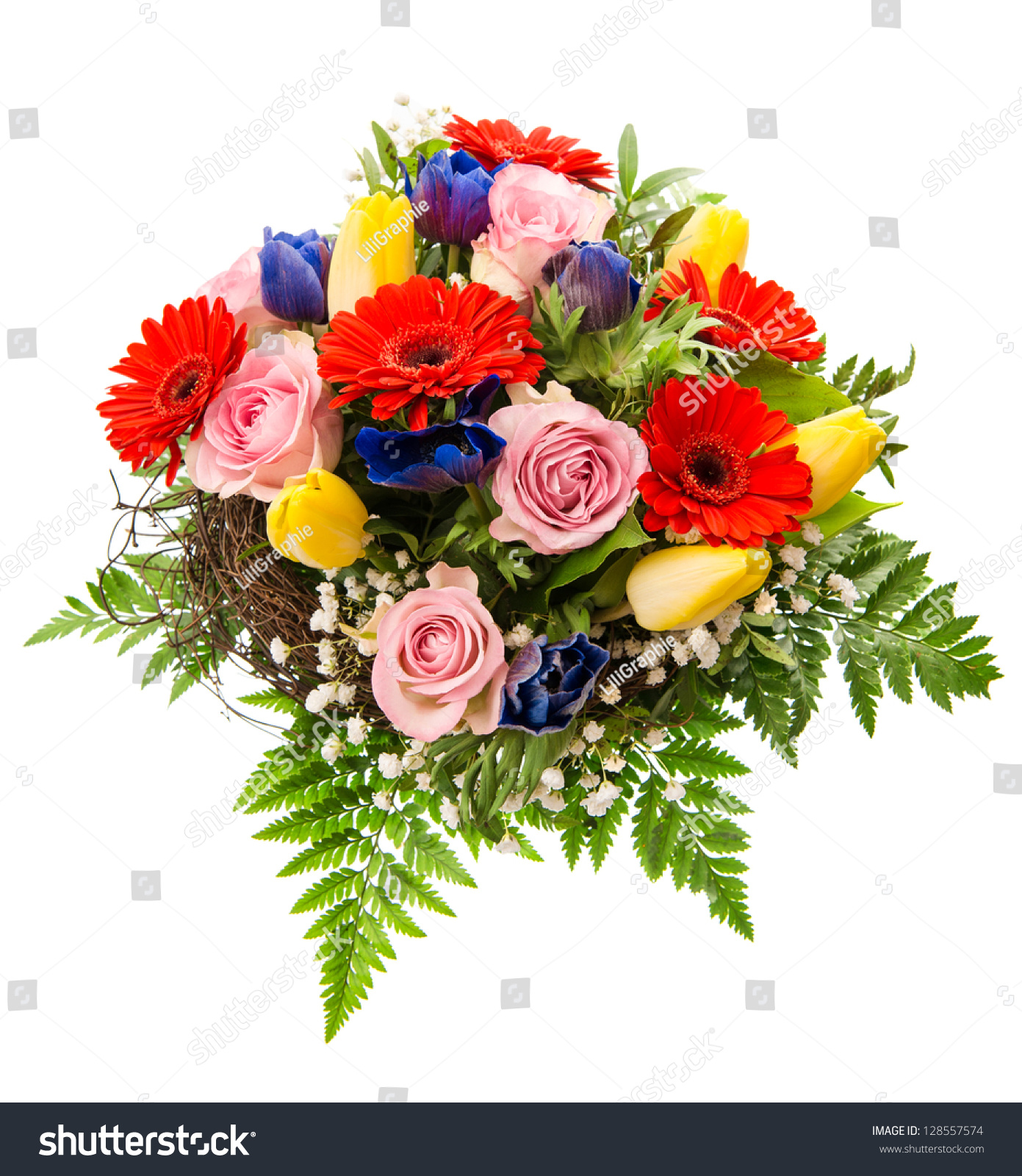 Closeup Colorful Spring Flowers Bouquet Isolated Stock Photo Edit