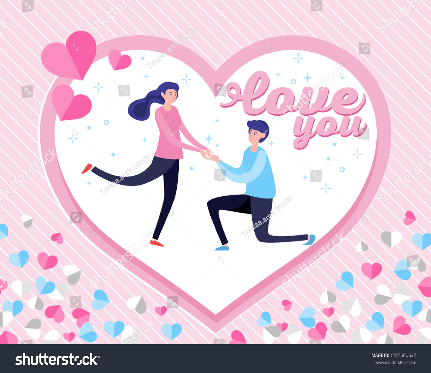 Lovely Marriage Proposal Banner Valentines Day Stock Vector Royalty Free 1285600627