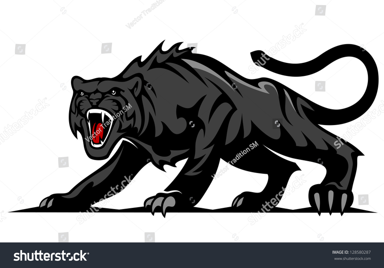 Danger Black Panther Puma Mascot Tattoo Stock Vector Royalty Free 128580287