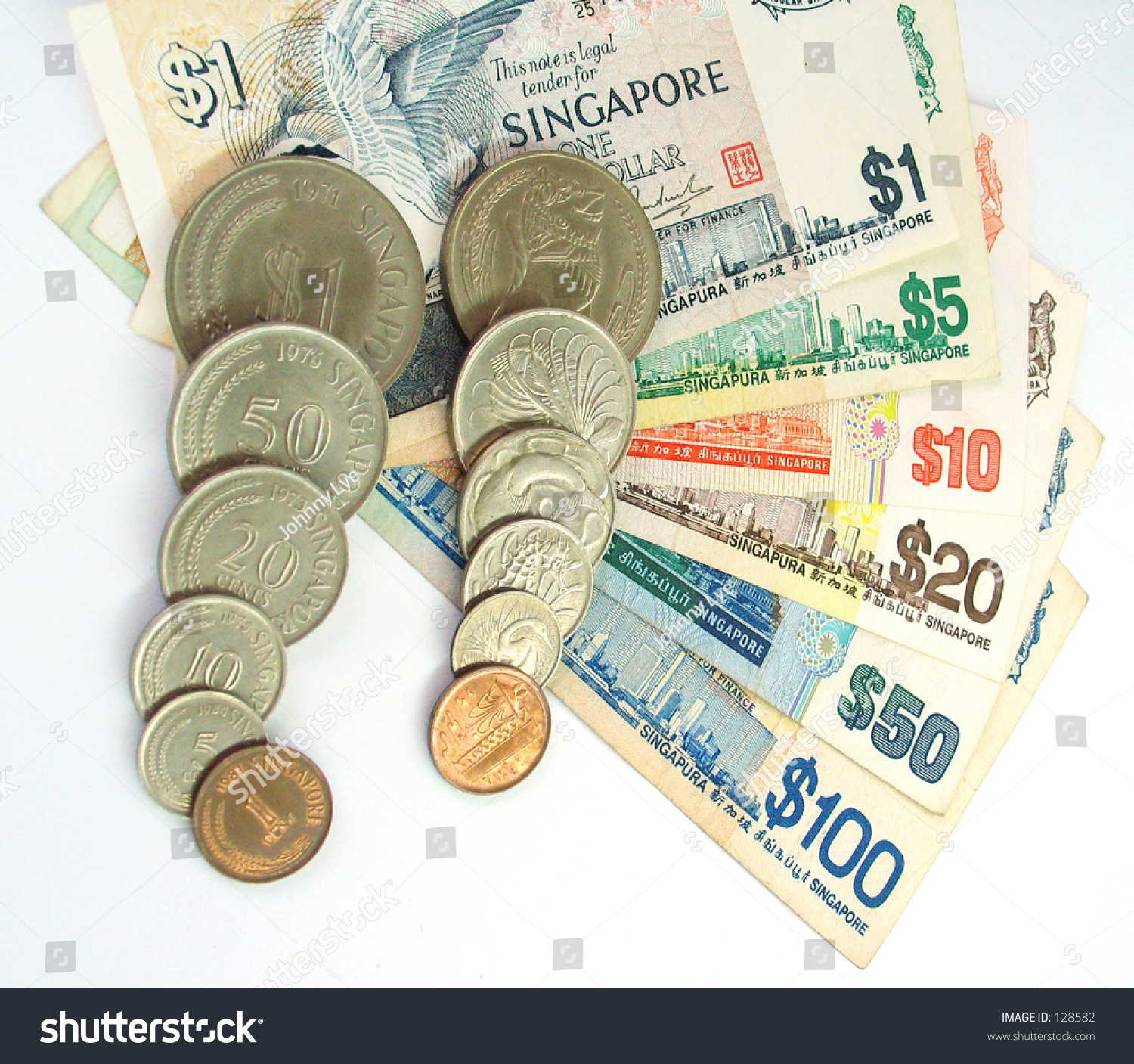 Singapore Currency Notes Coins Stock Photo (Edit Now) 128582
