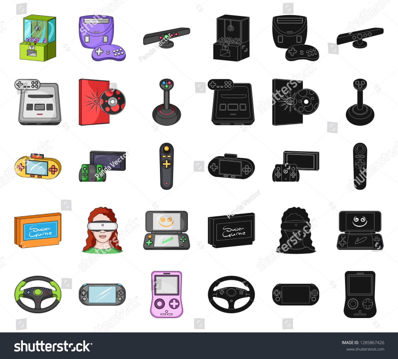b09706122211 Game Console Virtual Reality Cartoonblack Icons Stock Vector ...