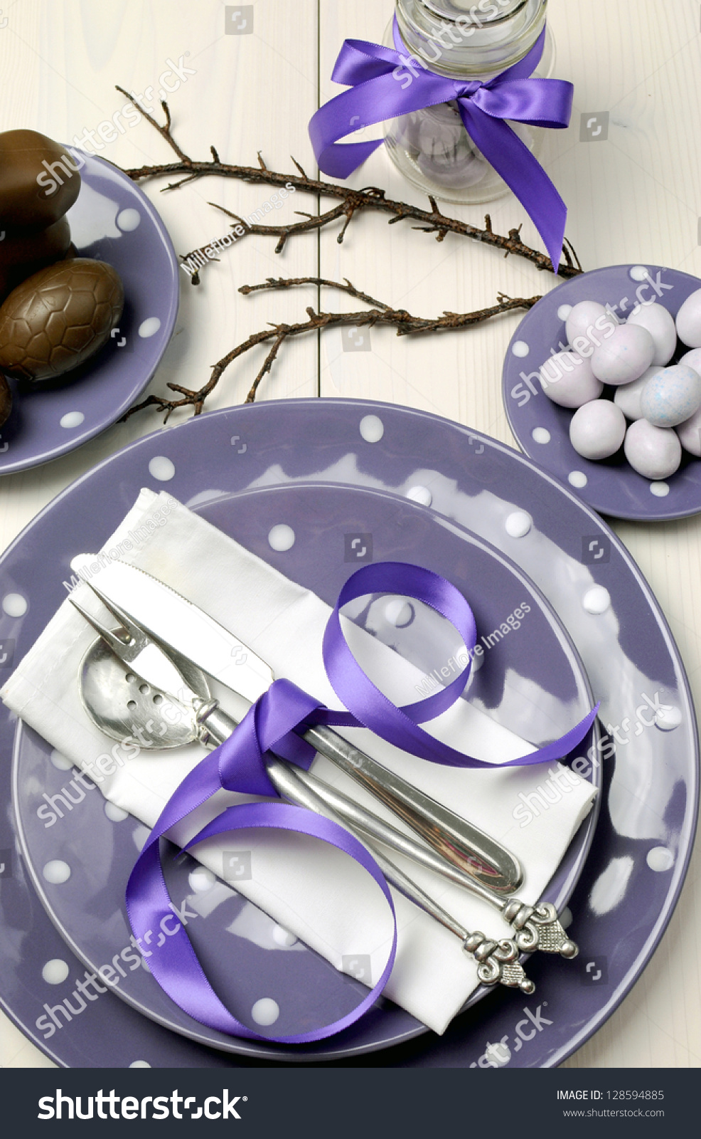 Table Setting For Breakfast Purple Theme Easter Dinner Breakfast Or Brunch Table Setting With