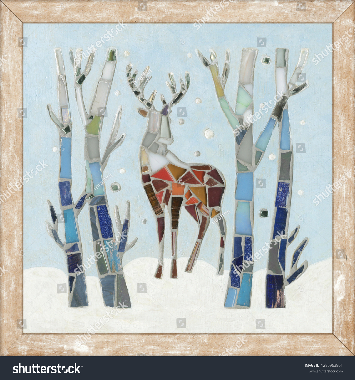Mosaic deer decoration. Christmas forest. Mosaic forest. Mosaic deer. Cristmas deer. #1285963801