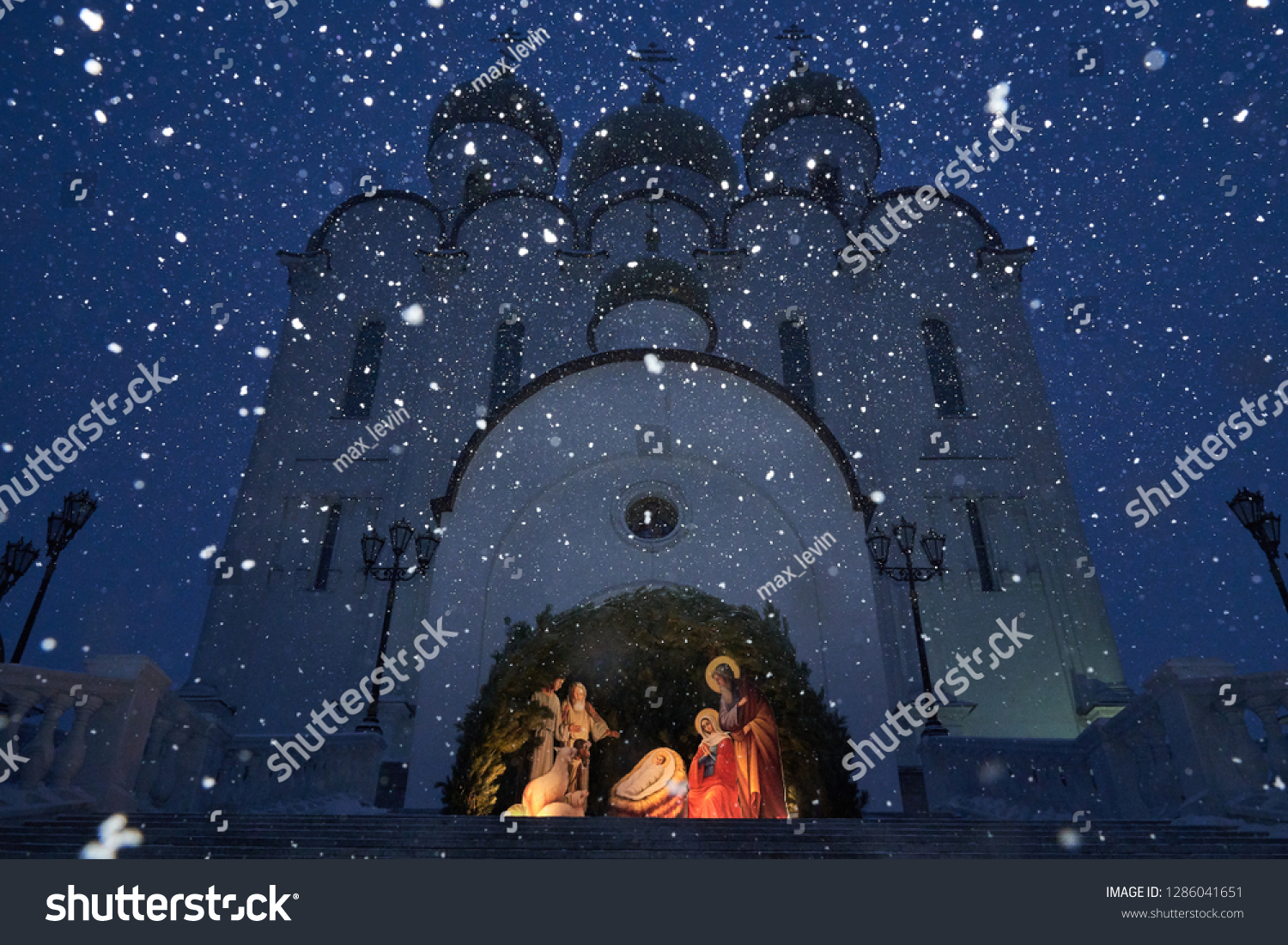 Christmas Manger Scene Figurines Including Jesus Stock Photo Edit Now 1286041651