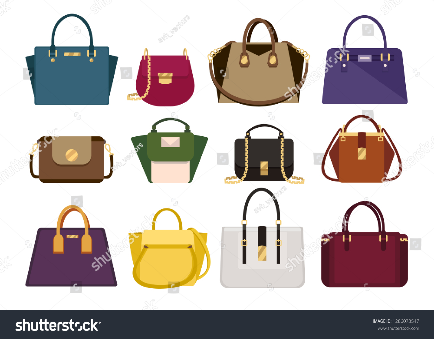 0e87b7e74a Woman color bags Designer Ladies Handbag collection of fashionable female  accessories of different types isolated icons