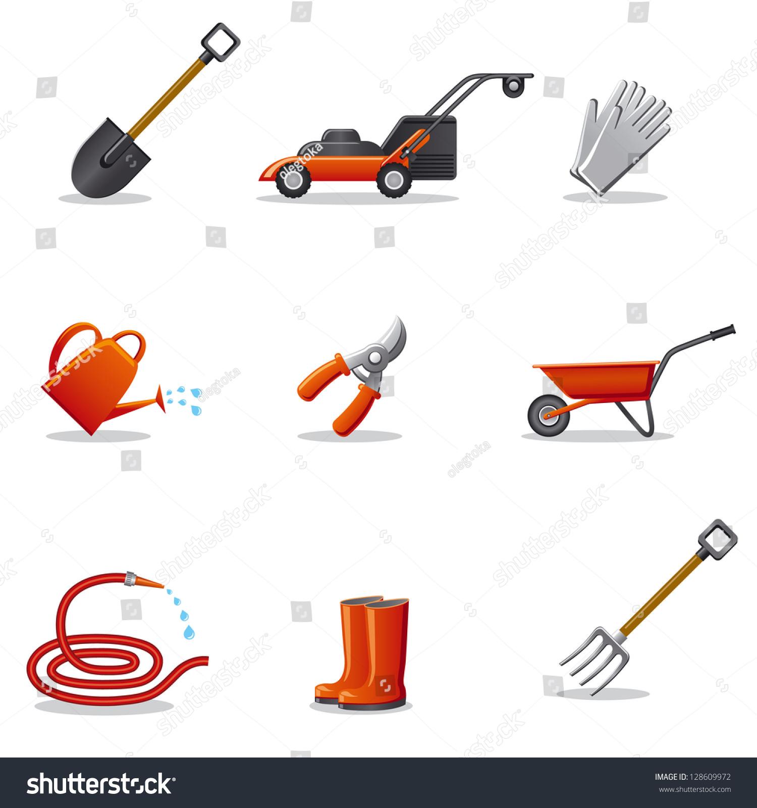 Garden tools icon set stock vector 128609972 shutterstock for Gardening tools vector