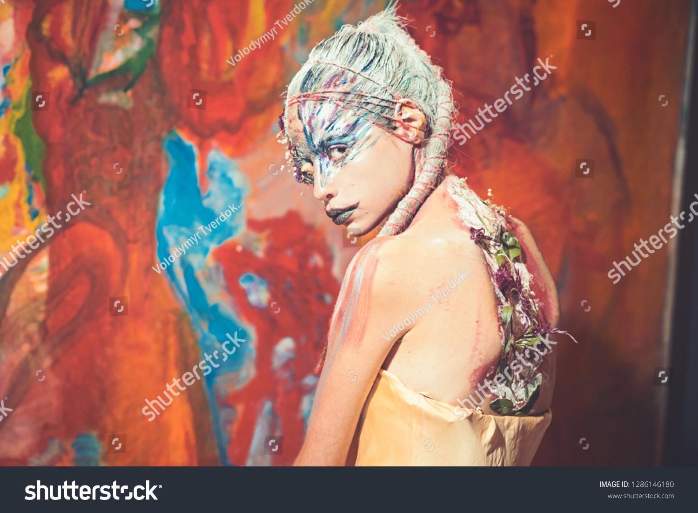 Indian Woman Creative Body Art Woman Stock Photo Edit Now 1286146180