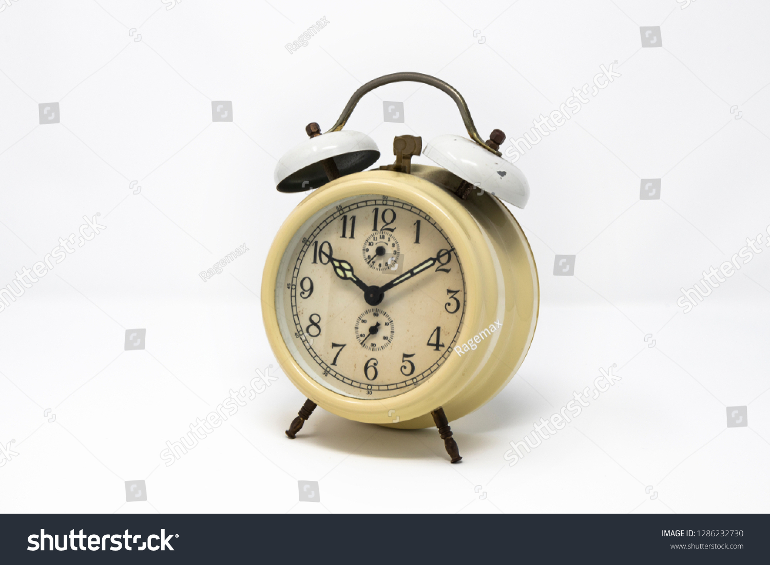 Old Yellow Analog Twin Bell Alarm Stock Photo (Edit Now
