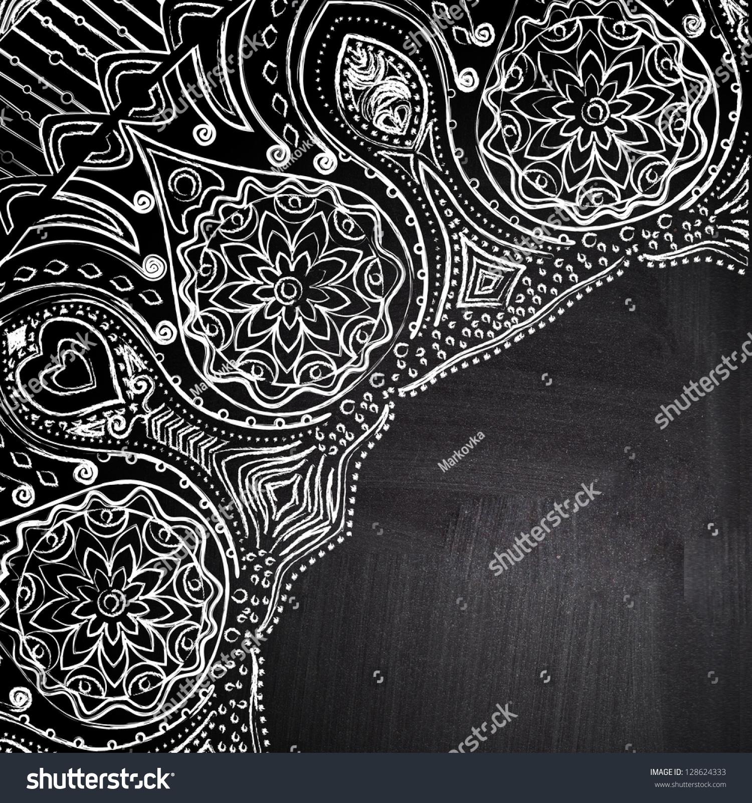 Chalk Floral Corner On Chalkboard Blackboard Stock