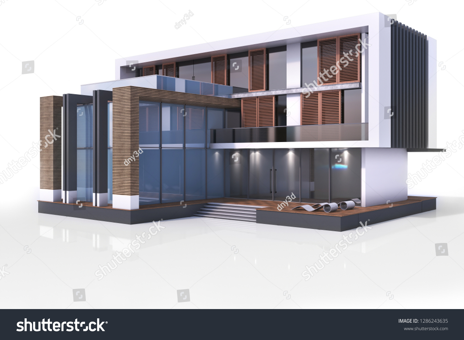 3d contemporary modern house on a white background 3d illustration