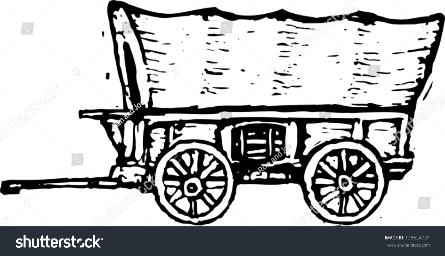 black and white covered wagon. black and white vector illustration of covered wagon n