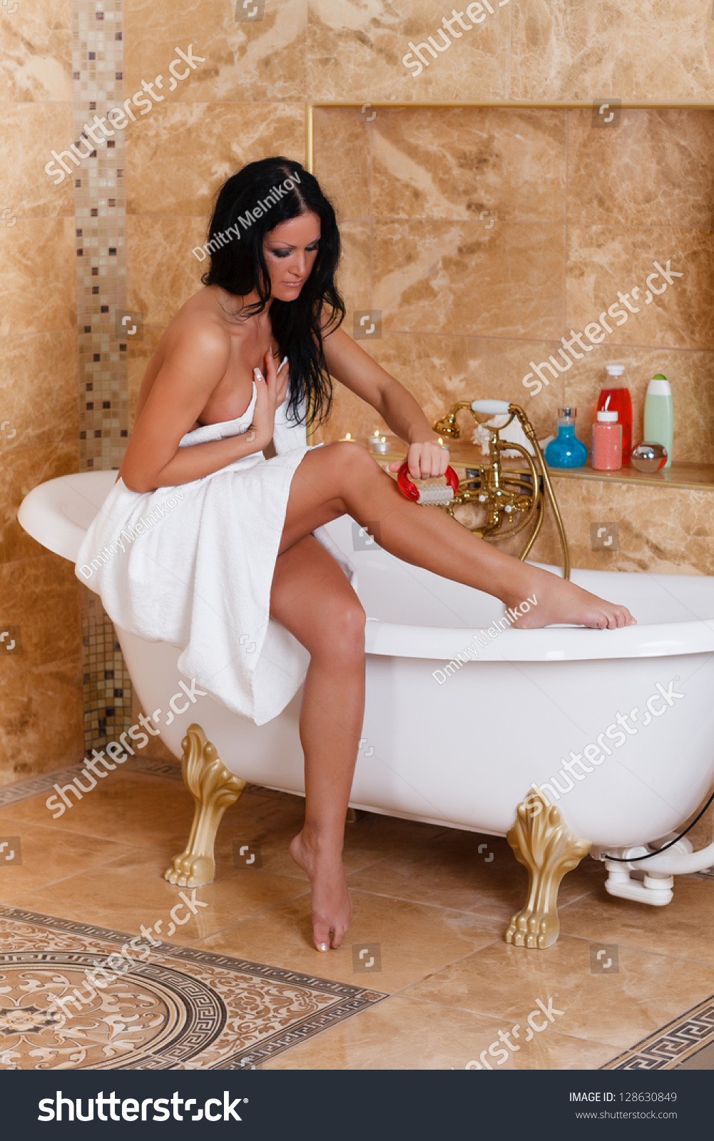 Young Woman Massager Bathroom Concept Body Stock Photo 128630849 ...