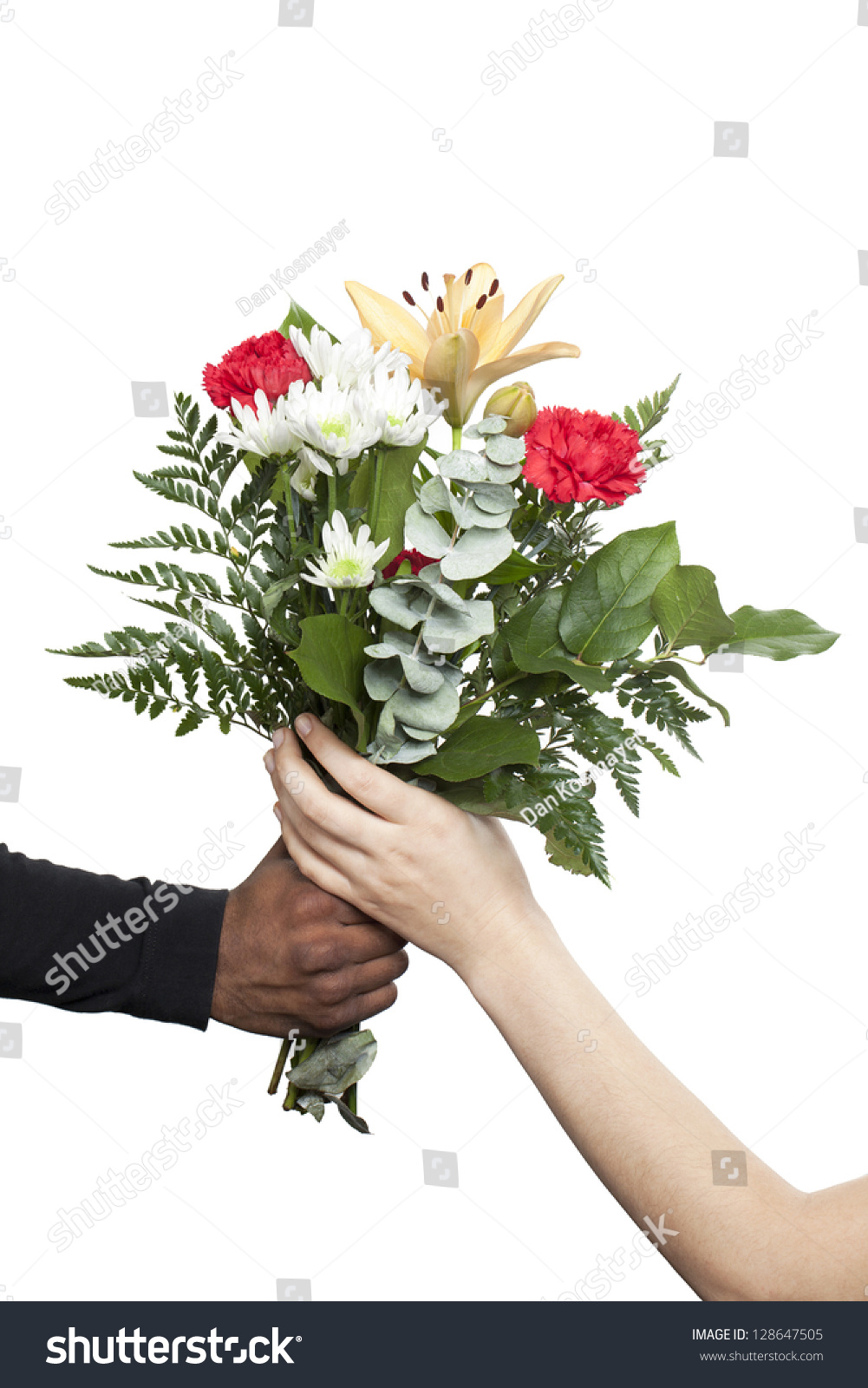 Arm Man Giving Bouquet Colorful Flowers Stock Photo & Image (Royalty ...