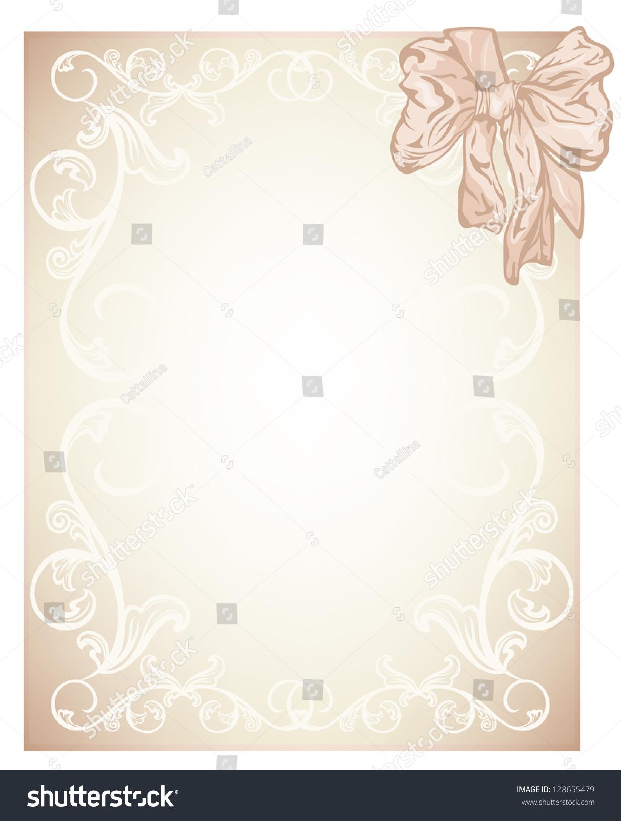 Raster Elegant Beige Blank Wedding Invitation Stock Illustration