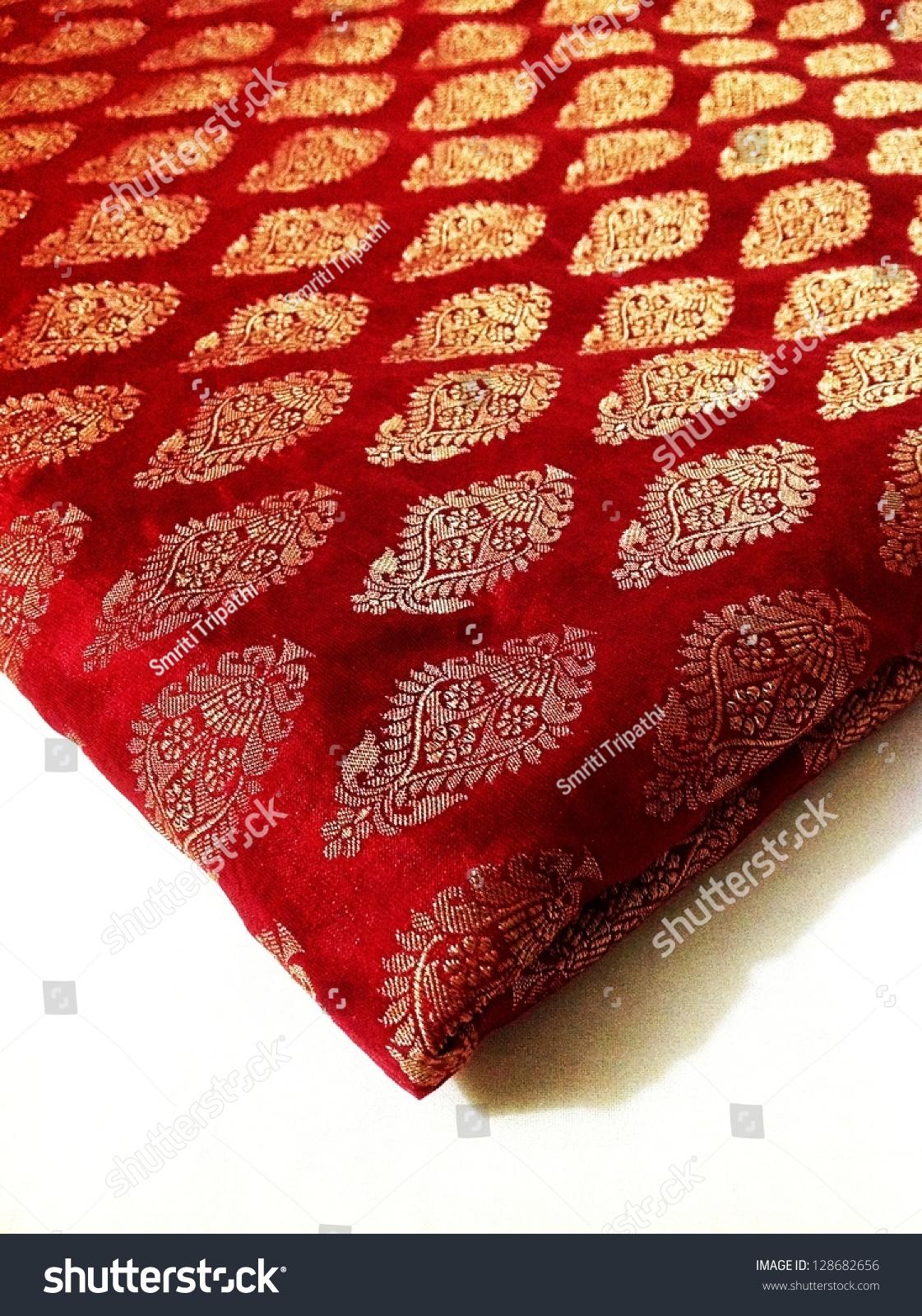 Wine Red Banarasi Silk Fabric Bronze Stock Photo 128682656