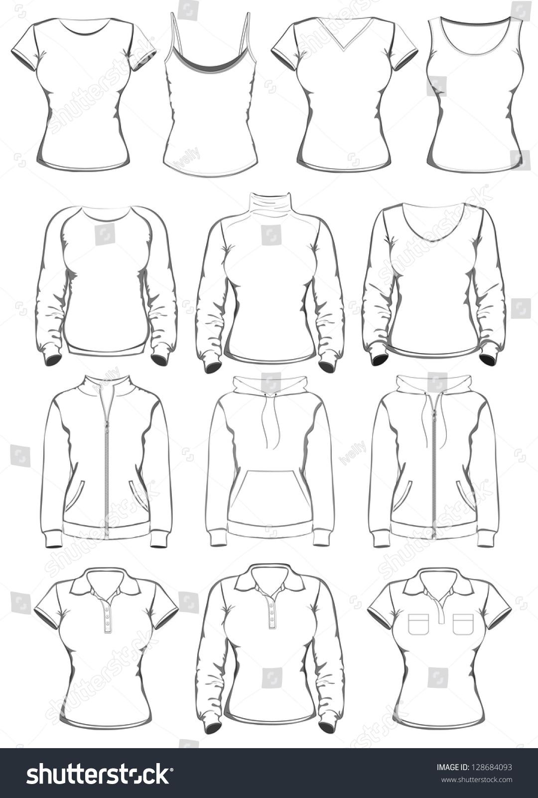 collection women clothes outline templates vector stock vector