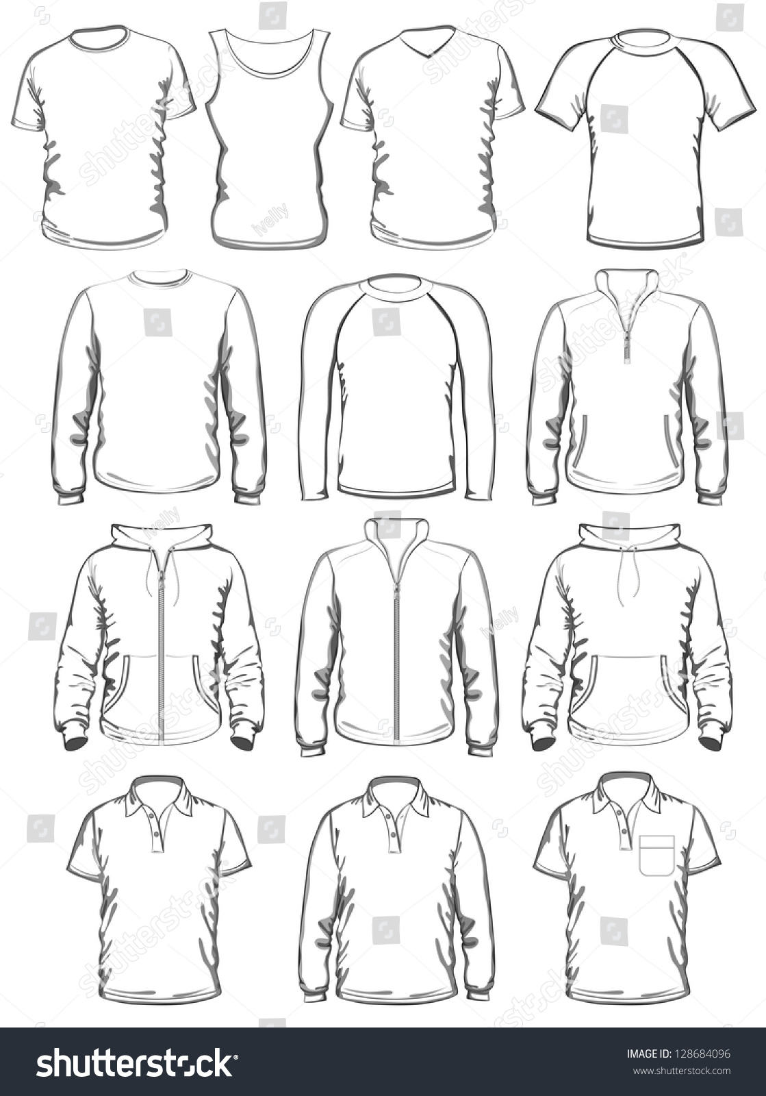 Collection Of Men Clothes Outline Templates Vector Illustration