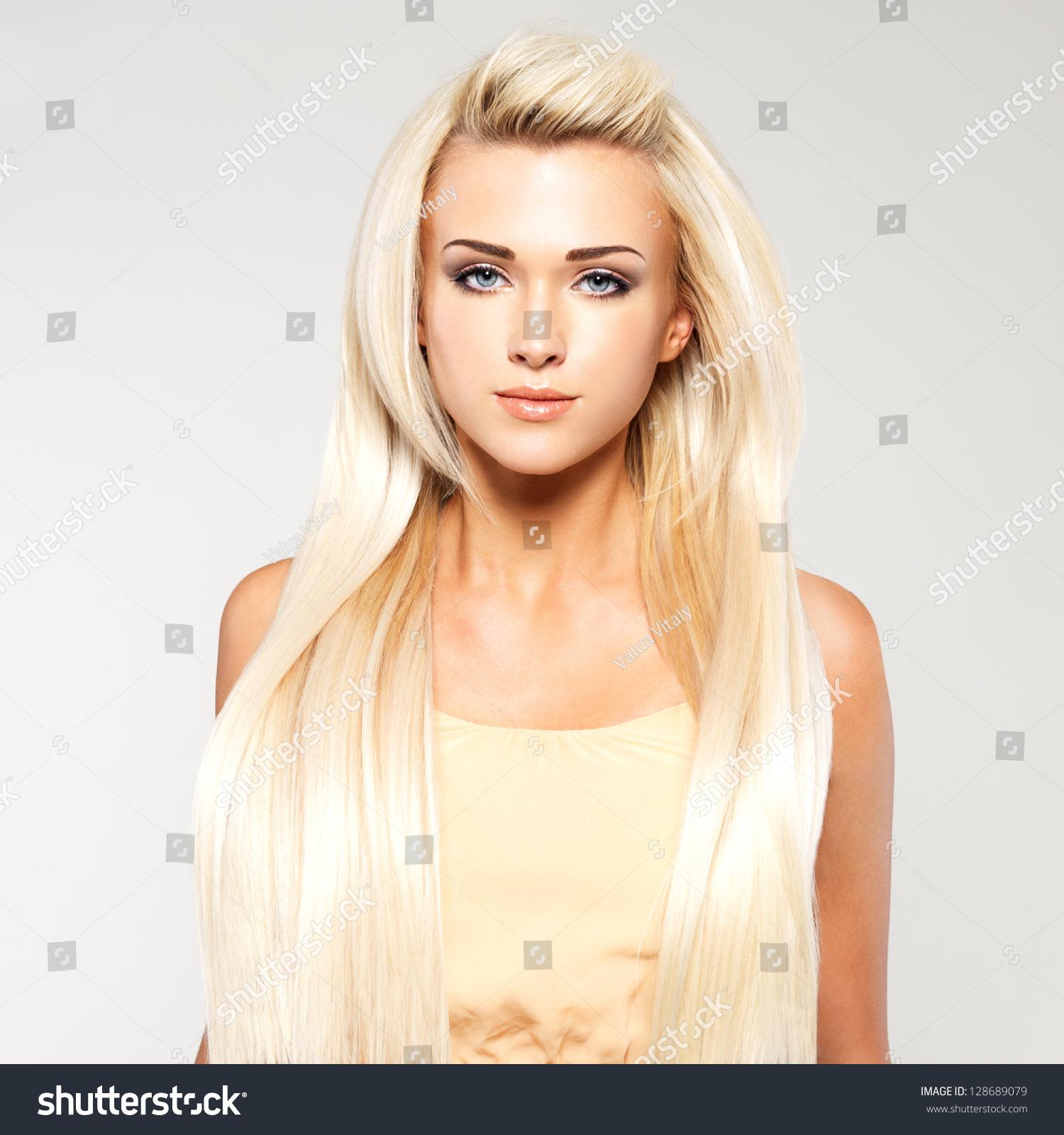 Beautiful Woman Long Straight Blond Hair Stock Photo