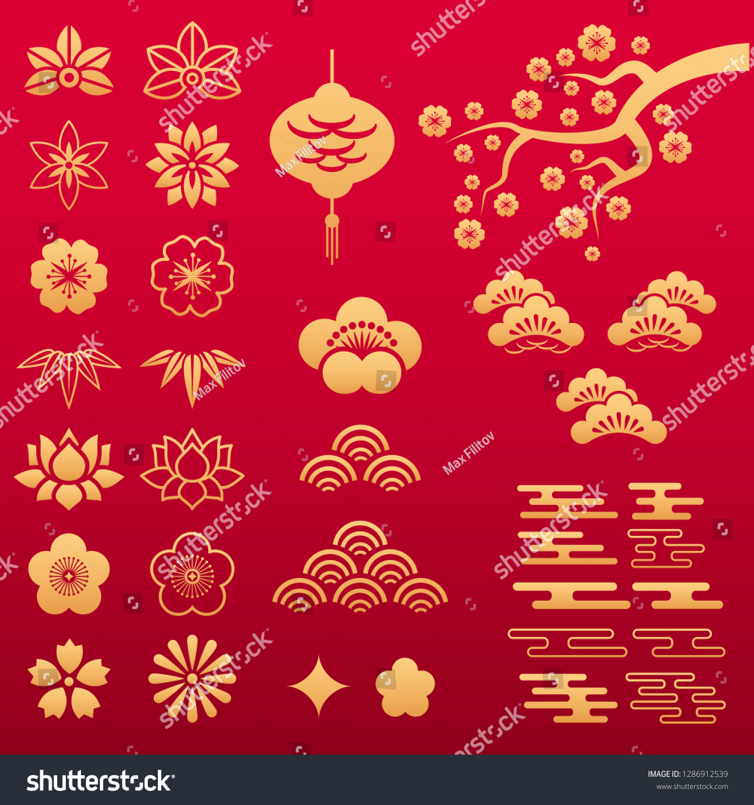 Vector Set Chinese Gold Floral Patterns Royalty Free Stock Image