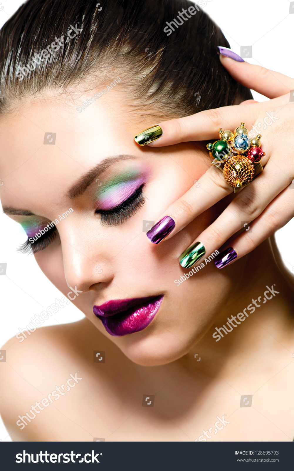 Fashion Beauty . Manicure And Make-Up. Nail Art. Beautiful