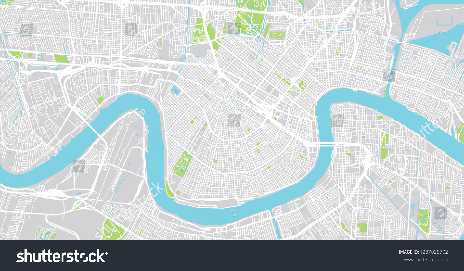 Urban Vector City Map New Orleans Stock Vector Royalty Free