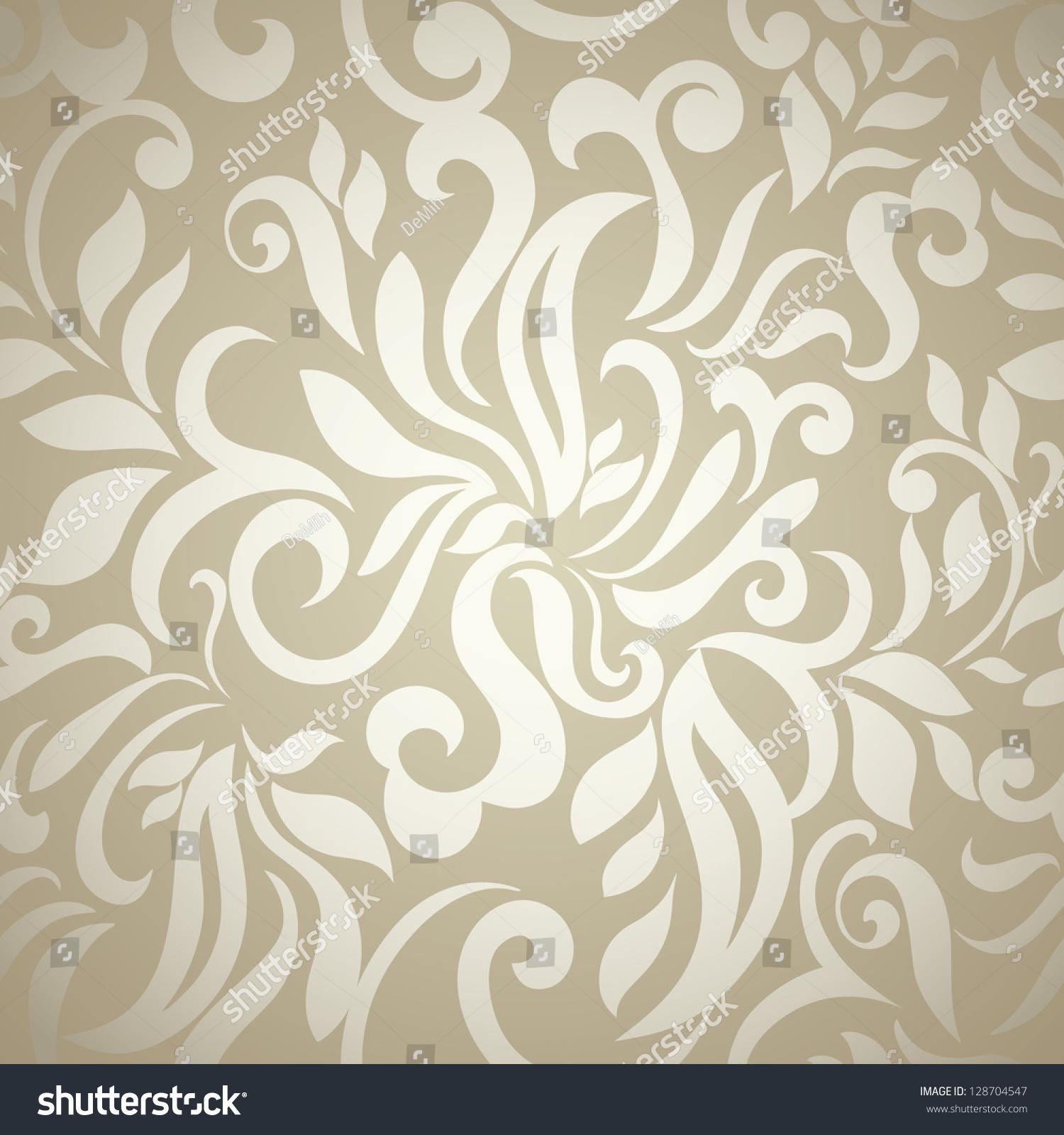 Abstract Floral Wallpaper Goldenbeige Light Design Stock Vector