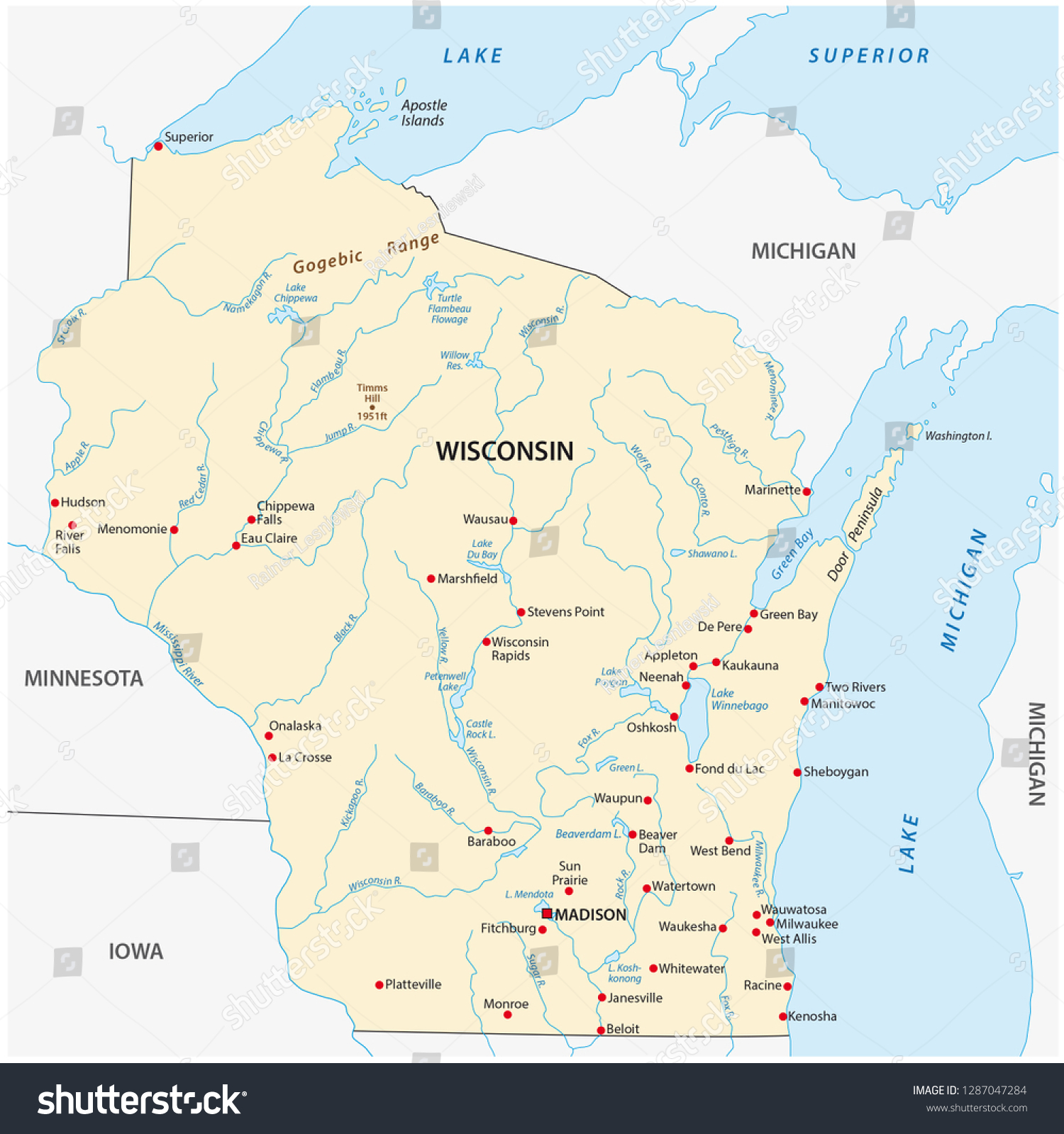 Wisconsin On A Us Map.Vector Map Us State Wisconsin Stock Vector Royalty Free 1287047284