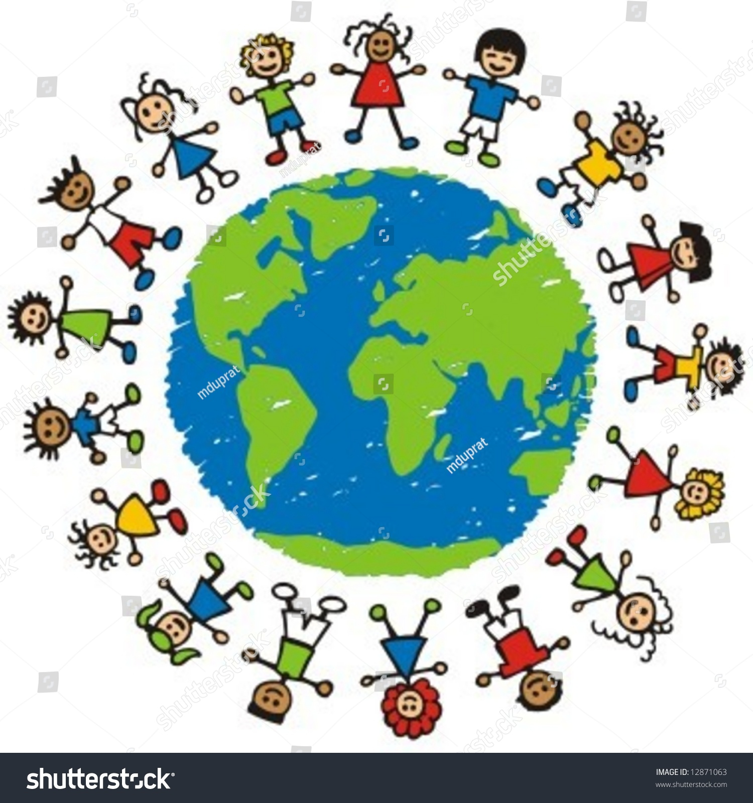 Children Of Different Races Hugging The Planet Earth. Stock Vector