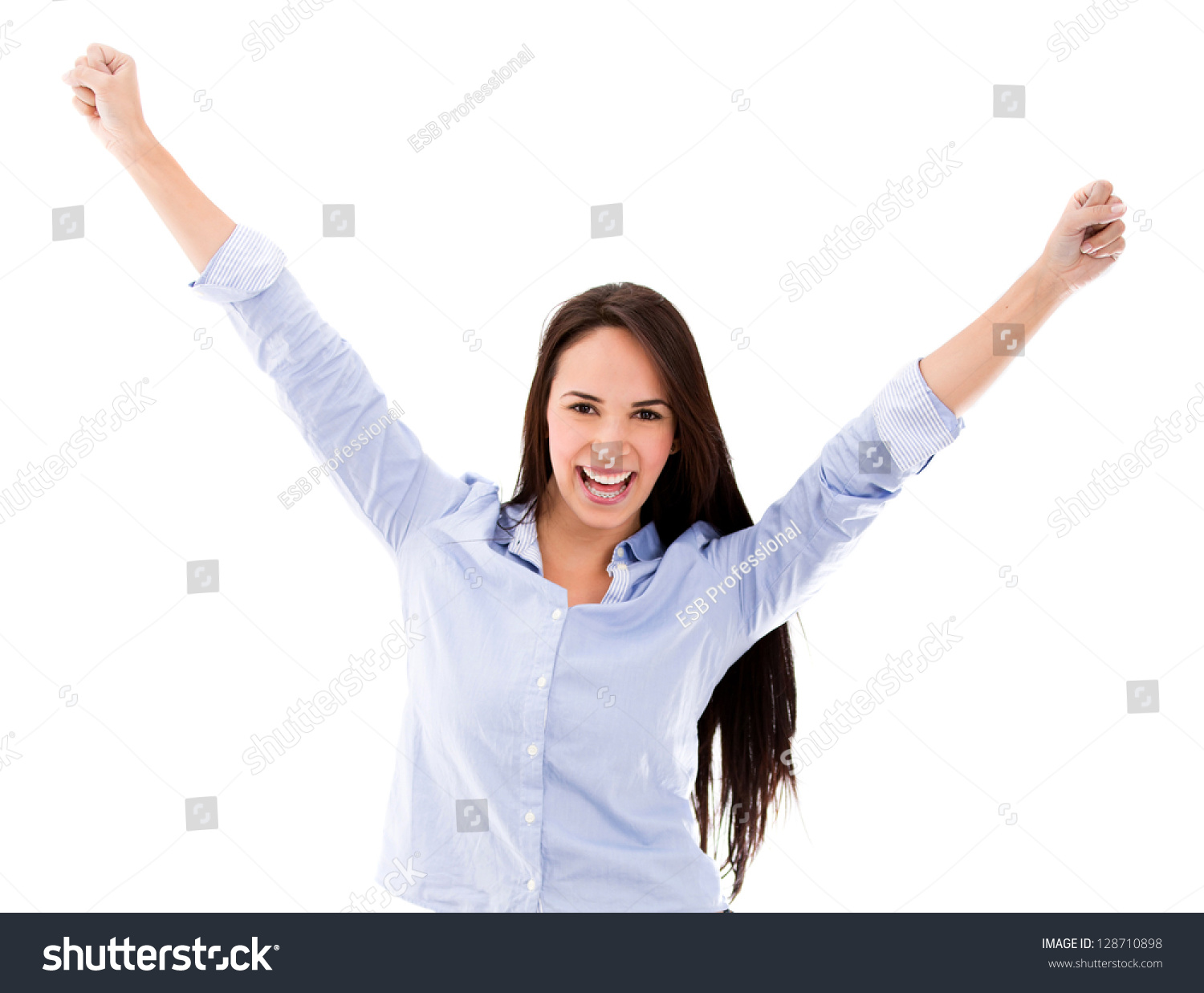 successful w arms isolated over white stock photo  successful w arms up isolated over a white background