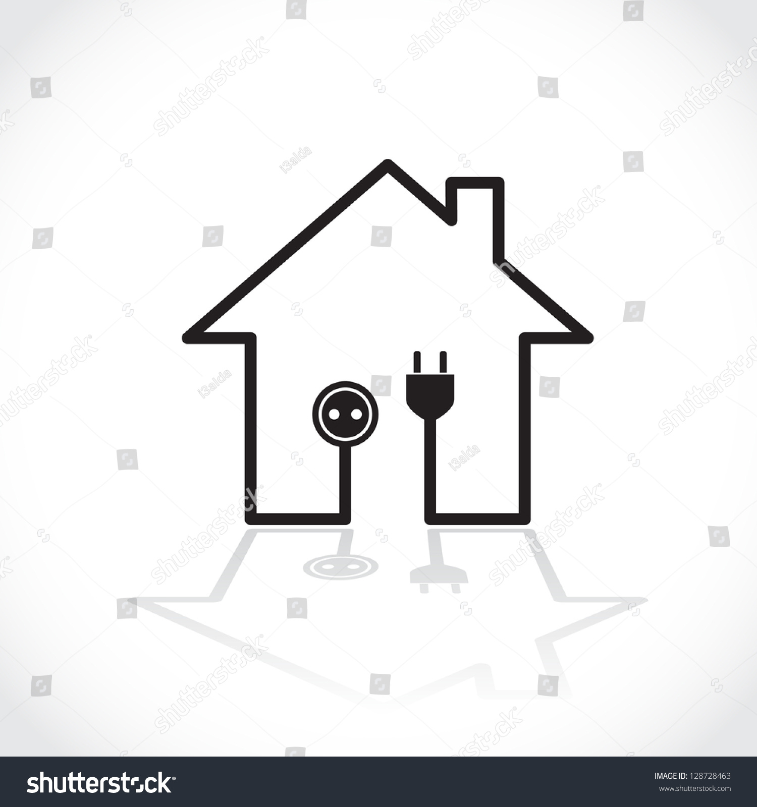 House Symbol Simple Electricity Circuit Illustration Stock Vector Electric Diagram Basic Symbols As