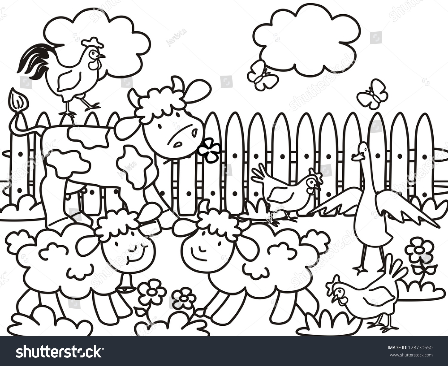 Farm Coloring Page Vector Icon Stock Vector (Royalty Free) 128730650 ...