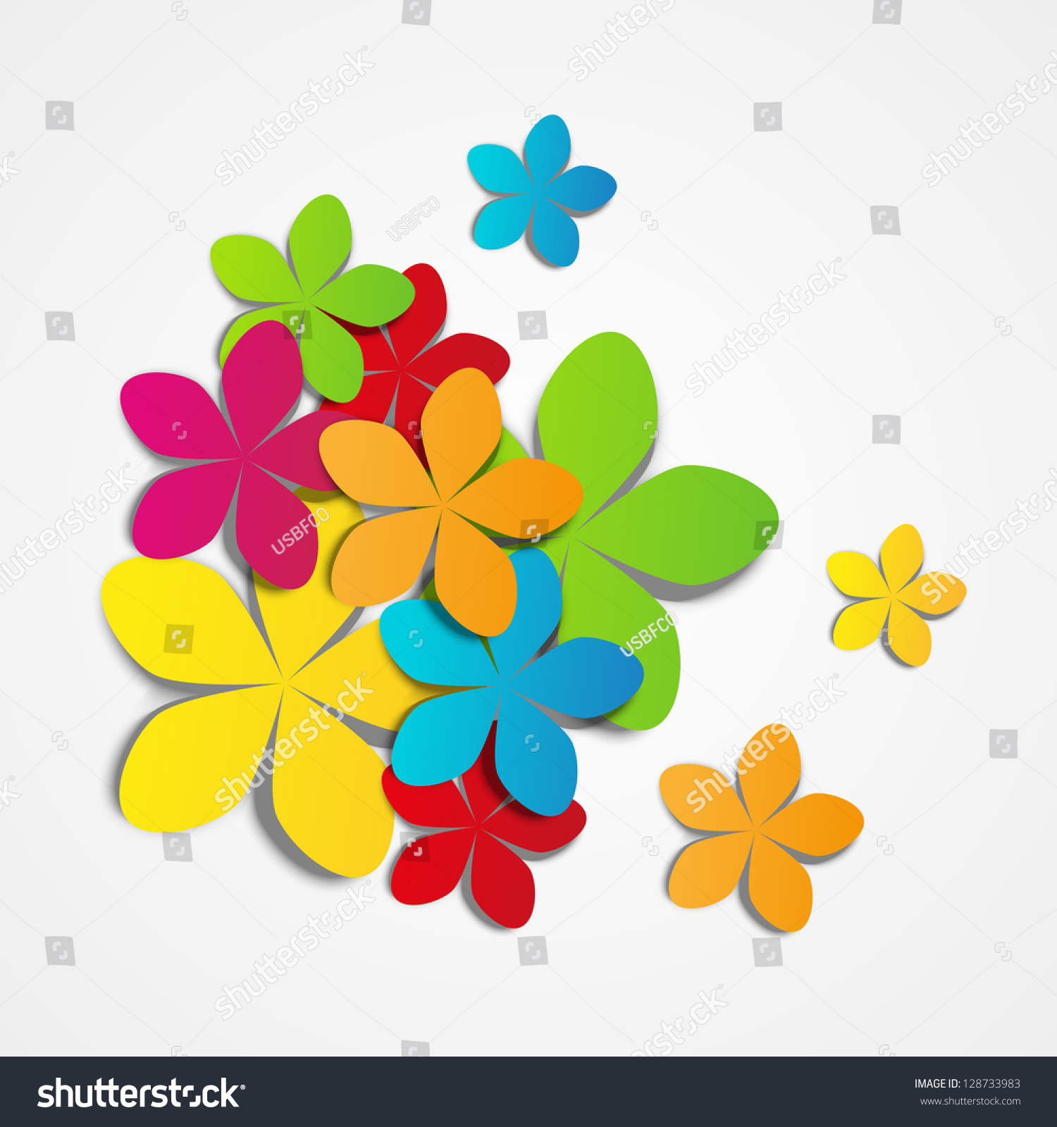 Vector Illustration Color Paper Flowers Stock Vector Royalty Free
