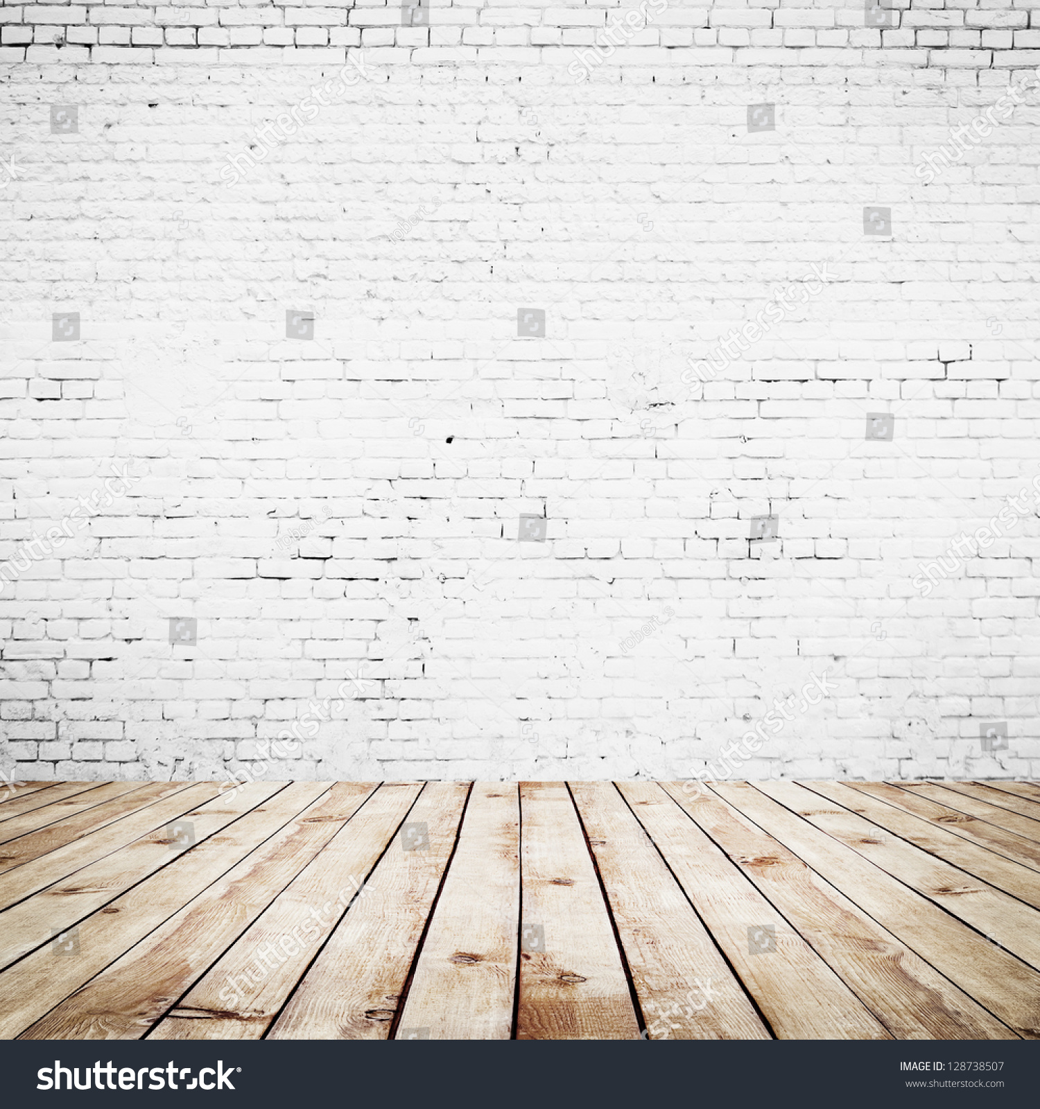 room interior vintage with white brick wall and wood floor background - Room Interior Vintage White Brick Wall Stock Photo 128738507