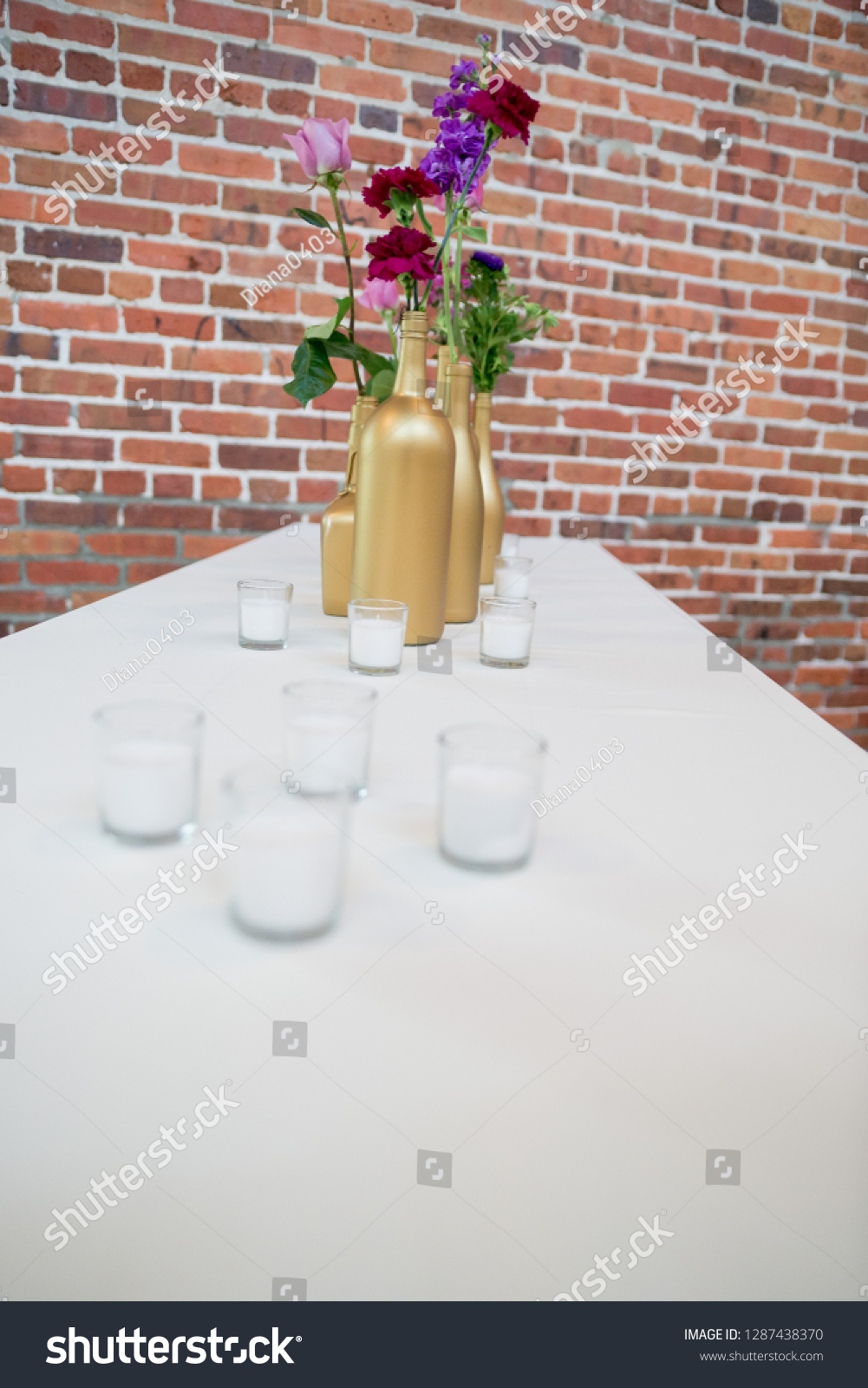 Wedding Reception Table Centerpieces Featuring Purple | Miscellaneous Stock  Image 1287438370