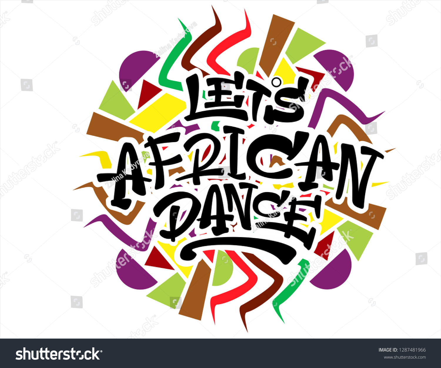 African dance hand lettering vector logo illustration with pattern modern badge tag icon